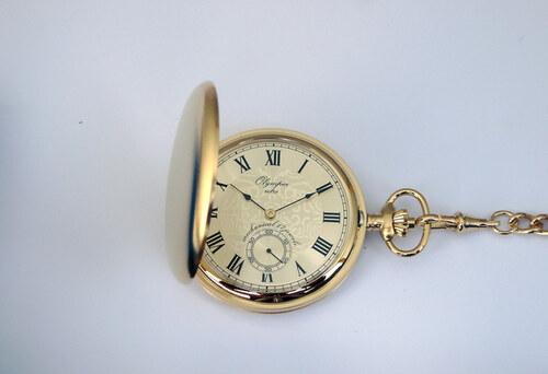 f8d88a9fa6e Luxusní zlaté mechanické Olympia kapesní hodinky 35032 s římskými číslicemi