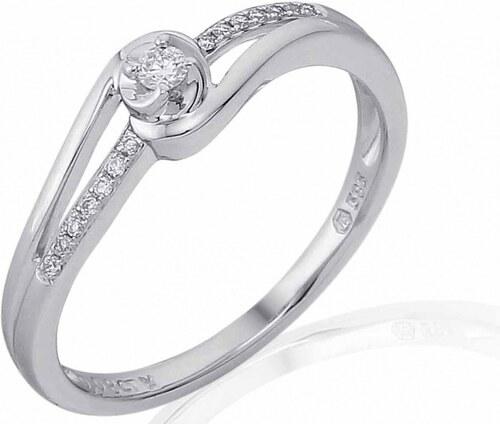 Pretis Luxusni Mohutny Zlaty Zasnubni Prsten S Diamantem Bile Zlato