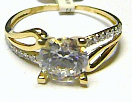 a5dc862ee Pretis Luxusní mohutný zásnubní zlatý prsten s velkým zirkonem 585/1,67 gr  vel
