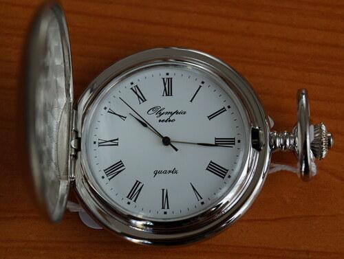 Luxusní stříbrné kapesní hodinky Olympia 30426 na řetízku - retro ... 71add5959e