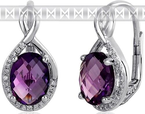 5f000370c Pretis Luxusní zlaté diamantové náušnice s diamanty, pravými fialovými  ametysty 3881057