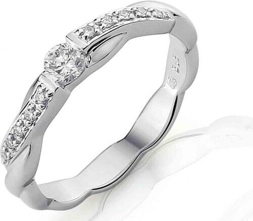 Pretis Luxusni Zlaty Diamantovy Zasnubni Prsten S Diamantem Bile