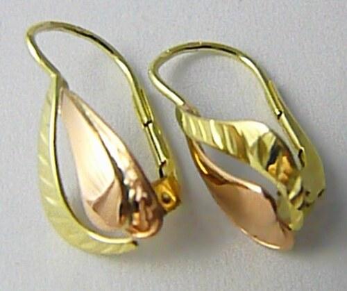 Zlatokov Velké dámské zlaté náušnice z dvojího zlata 585 1 8e1c2f54ca0