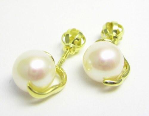 c12e8d44d Zlatokov Zlaté elegantní dámské náušnice na šroubek perlou 585/2,31 gr Z152  POŠTOVNÉ