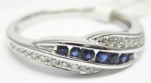 2a7862558 Pretis Luxusní prsten s diamantem, bílé zlato briliant, přírodní safír  vel.54 3860481