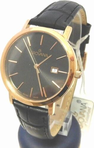17b001986f5 Dámské luxusní švýcarské zlacené hodinky Grovana 3230.1967 na koženém pásku