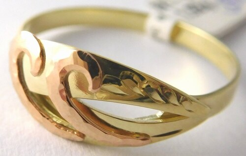 39a06afa6 Pretis Mohutný zlatý prsten se žlutého a červeného zlata vel. 60 585 ...