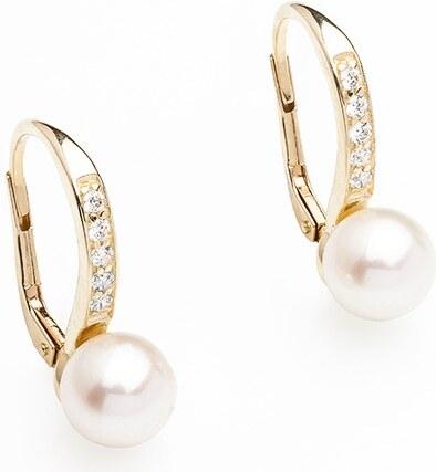 Zlatokov Dámské zlaté náušnice se sladkovodními perlami a zirkony cca  585 2 b0422bf18b8