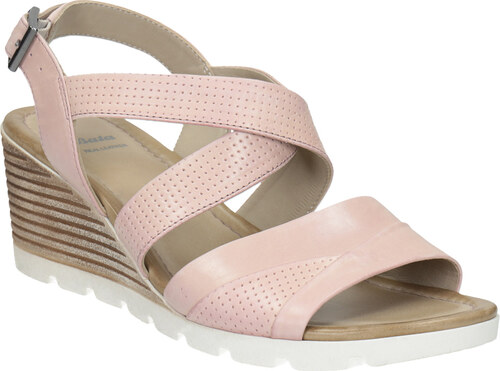 Baťa Růžové kožené sandály na klínku - Glami.cz f08902d3a8