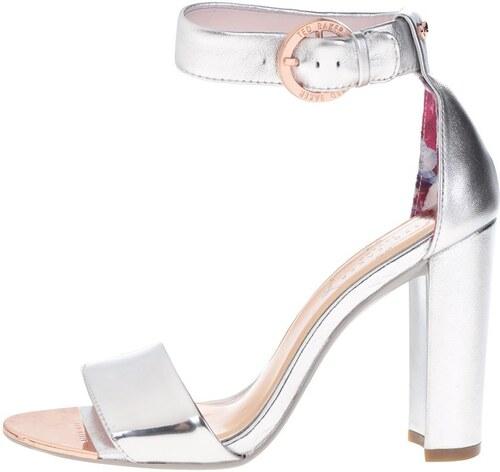 Kožené sandálky na podpatku ve stříbrné barvě Ted Baker - Glami.cz dc4865e517