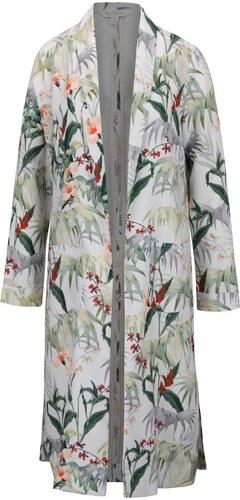 Krémový kvetovaný ľahký kabát Miss Selfridge 5f7877e389