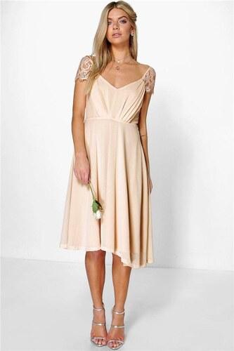 BOOHOO Šifonové midi šaty Peony s krajkovými rukávy - Glami.cz 3138648c67