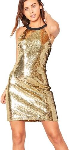 227aaa11548b MISSY EMPIRE Flitrované zlaté šaty s čiernym sieťovanými chrbtom ...