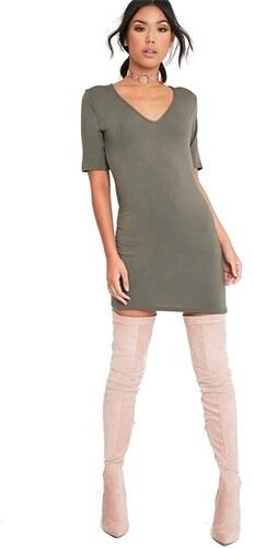 a3d217821be9 PRETTYLITTLETHING Klasicky strihané šaty v khaki farbe - Glami.sk