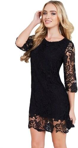 41763c8fe748 LITTLE MISTRESS Čierne háčkované šaty s priesvitnými rukávmi - Glami.sk