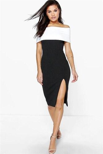 BOOHOO Černé body šaty Elin s kontrastním panelem - Glami.cz 282946e722