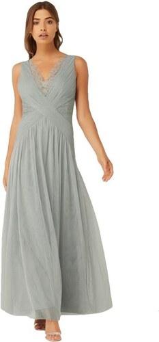 3e26157418c LITTLE MISTRESS Jemně šedé maxi šaty se skládaným krajkovým dekoltem ...