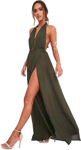 PRETTYLITTLETHING Maxi šaty vo farbe khaki s hlbokým výstrihom a dlhým  rázporkom d9d3599544c