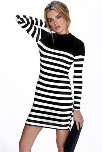12c90c1791 BOOHOO Čierno-biele pruhované šaty Holly - Glami.sk