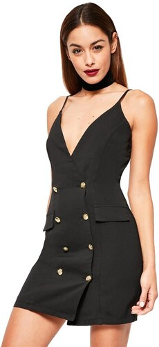 MISSGUIDED Luxusní černé šaty s dvouřadými knoflíky - Glami.cz 6b3e4faf6c