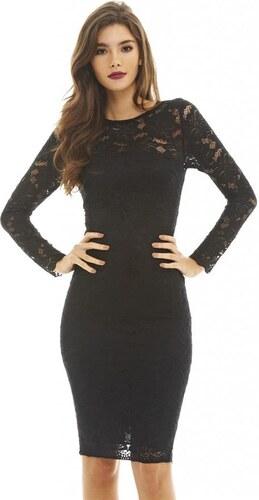 AX PARIS Černé krajkové midi šaty - Glami.cz 648c936519