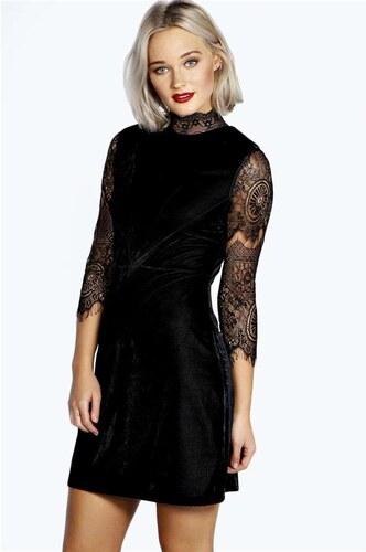 BOOHOO Černé mini šaty Riona s krajkovými rukávy - Glami.cz 3d5e1261dd