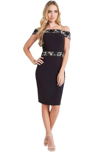 LITTLE MISTRESS Černé bardot šaty s kontrastní krajkou - Glami.cz b4c597bf0f