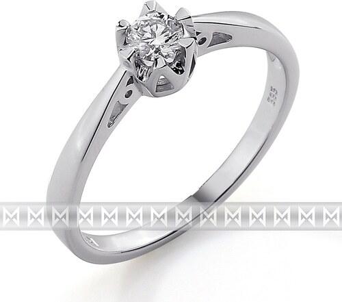 Gems Diamonds Zasnubni Prsten S Diamantem Bile Zlato Brilianty