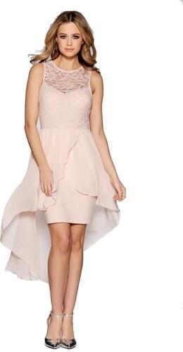QUIZ Růžové asymetrické společenské šaty - Glami.cz 883ec52a39