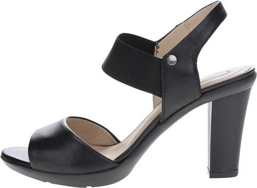 e7b6a4cd59ec Čierne kožené sandálky na vysokom podpätku Geox Jadalis - Glami.sk