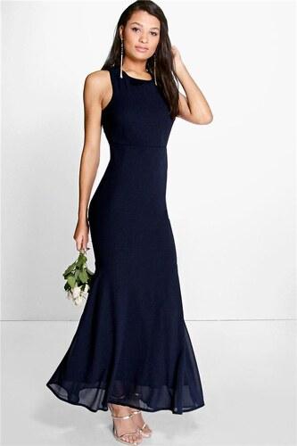 BOOHOO Tmavě modré šifonové šaty Carol - Glami.cz 8ac2b5456f