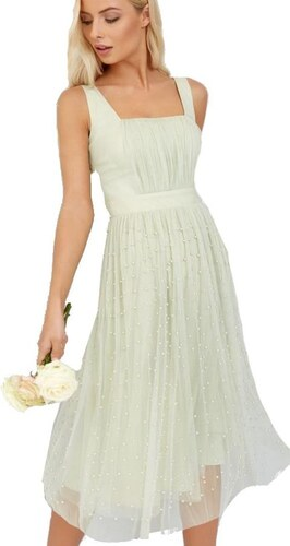 d7bc61b72fd5 LITTLE MISTRESS Šedé šaty s perličkami na midi sukni - Glami.cz