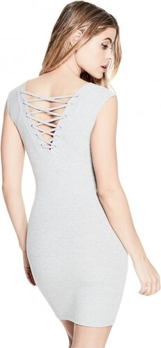 GUESS Dámské šaty Naomi Lace-Up Dress - light melange grey - Glami.cz a700e252ad1