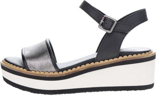 e81182a5585d Krémovo-čierne dámske sandále na platforme Tommy Hilfiger - Glami.sk