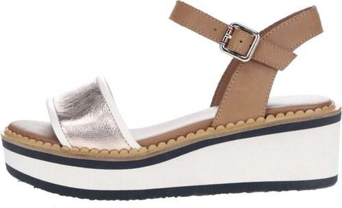 fd8528aab799 Krémovo-hnedé dámske sandále na platforme Tommy Hilfiger - Glami.sk