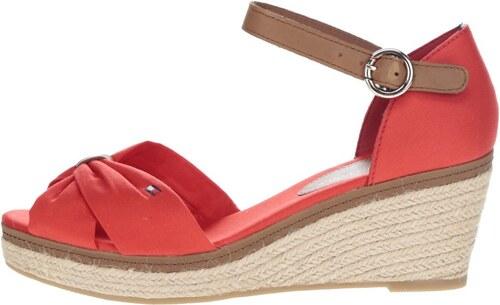 Červené dámské sandály na klínku Tommy Hilfiger - Glami.cz 3aed0ce186