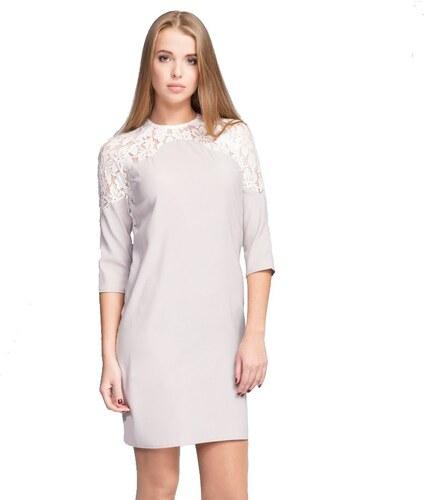a470875c796c Mira Mod Dámské šaty s 3 4 rukávem a ozdobnou krajkou - šedé Barva ...