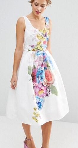 Luxusní bílé šaty s květy a s rozšířenou sukní - Glami.cz 4efc760434