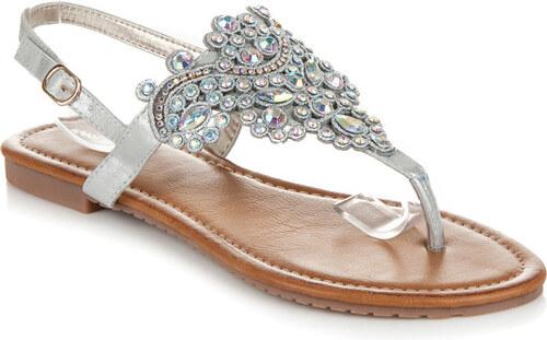 IDEAL Luxusní stříbrné sandály s třpytivé kamínky 38 - Glami.cz ac59df808c