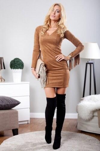 06431e46b553 Fasardi Karamelové šaty so strapcami - Glami.sk