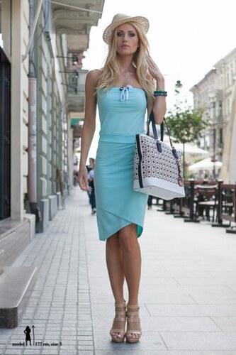 Fasardi Letné tyrkysové asymetrické šaty - Glami.sk 5a446c8a9c