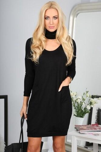 92731252906a Fasardi Čierne mini šaty s dlhými rukávmi a vreckami - Glami.sk