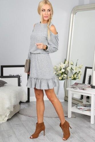 911ad9b430 Fasardi Krásne sivé šaty s výrezmi na pleciach - Glami.sk