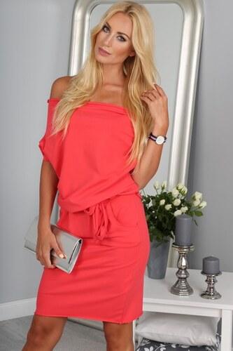 32d67e78ea07 Fasardi Krásne letné koralové šaty s viazaním okolo pásu - Glami.sk