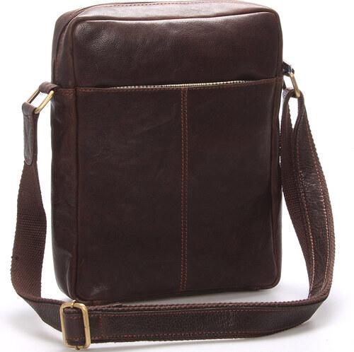 Elegantná pánska kožená taška cez rameno hnedá - SendiDesign Turner hnedá 31c0e19782f