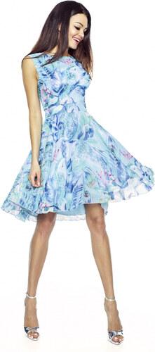Elegantní šifónové šaty KARTES 219-1 modré 42 - Glami.cz 2f04bfc462