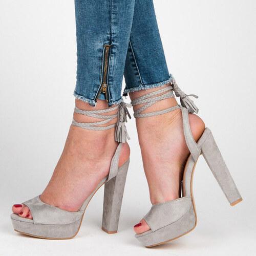 417b012a5b VICES Luxusné šedé sandálky s viazaním - Glami.sk