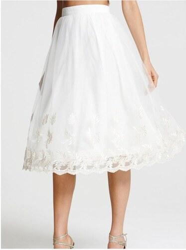 LITTLE MISTRESS Biela midi sukňa s kvetinovou výšivkou - Glami.sk 082bbed7ca