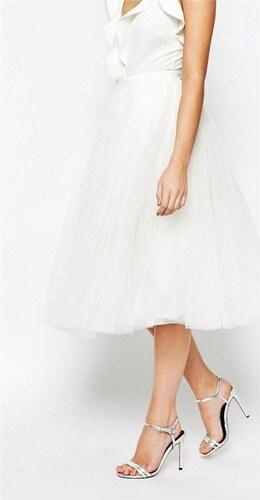 HUSH HUSH Snehovo biela tylová midi sukňa - Glami.sk f15e0541c2