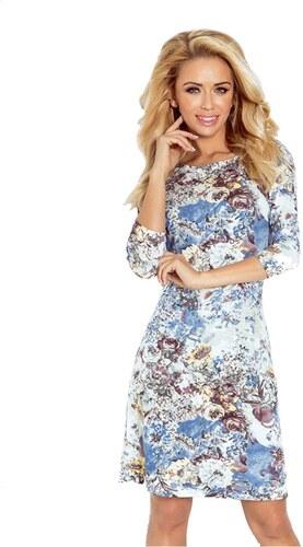 Dámské šaty s 3 4 rukávy květované Numoco - modré Barva  vícebarevná ... 38e98bc79f